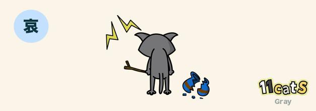 しっぽを力なくダランと下げている猫のイラスト(11Cats グレイ)