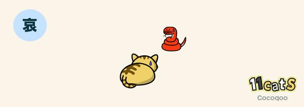 しっぽを股の間にはさんでいる猫のイラスト(11Cats ココクー)