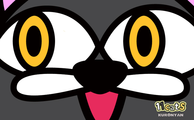 黒猫のどアップイラスト(11Cats クロニャン)