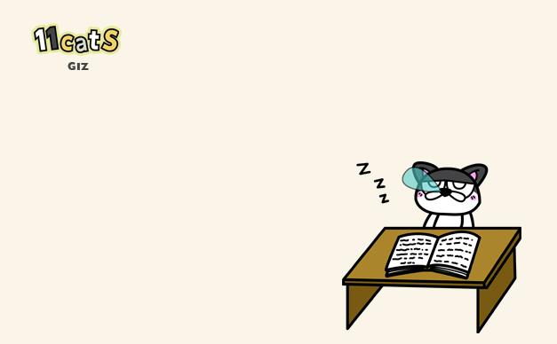 本を読むが集中力が続かない猫のイラスト(11Cats ギズ)