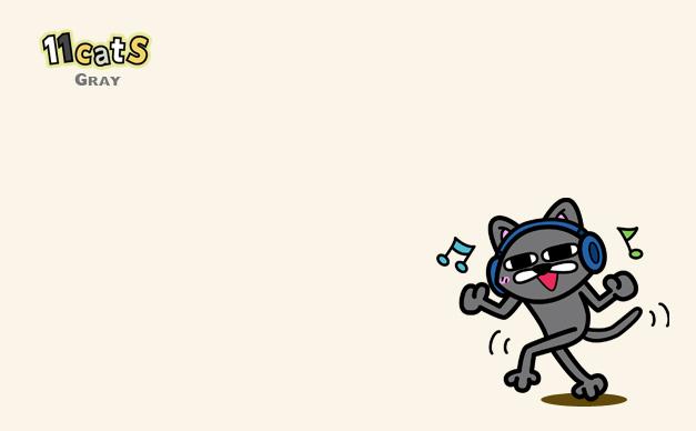 ヘッドフォンをして踊る猫のイラスト(11Cats グレイ)