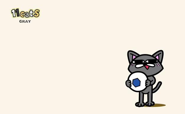 サッカーボールを持った猫のイラスト(11Cats)