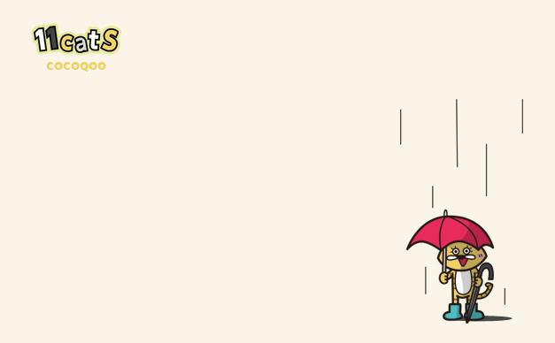 傘をさす猫のイラスト(11Cats ココクー)