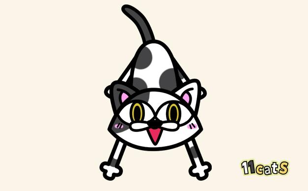 白黒猫のイラスト