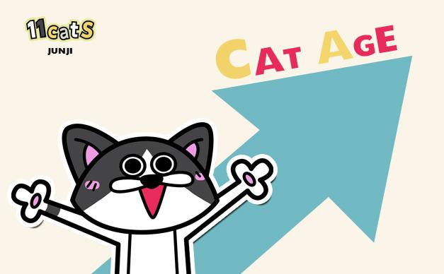 喜ぶ猫のイラスト(11Cats ジュンジ)