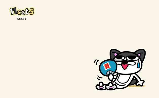 ウチワで仰ぐ猫のイラスト2(11Cats セッシー)