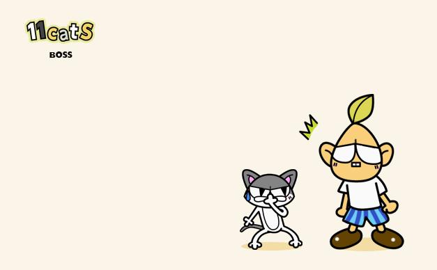 鼻をつまむ猫のイラストと人間(11Cats ボス&モーさん)