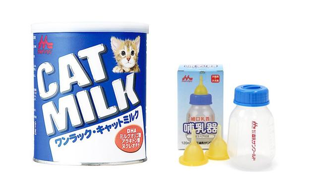 子猫用ミルクと哺乳器の画像