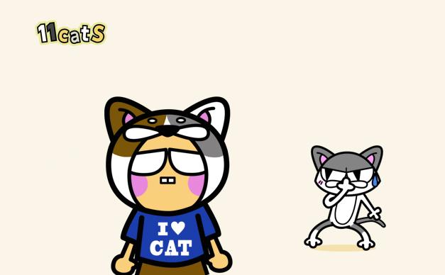猫のかぶりものをした人のイラスト(11cats)