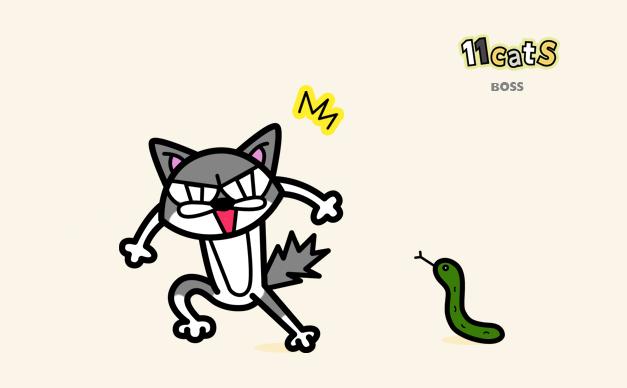 キュウリをヘビと見間違えたネコのイラスト(11Cats ボス)
